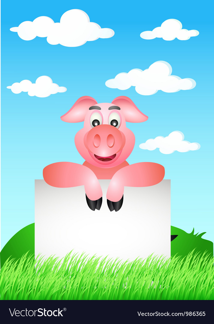 Funny pig cartoon with blank sign vector | Price: 1 Credit (USD $1)