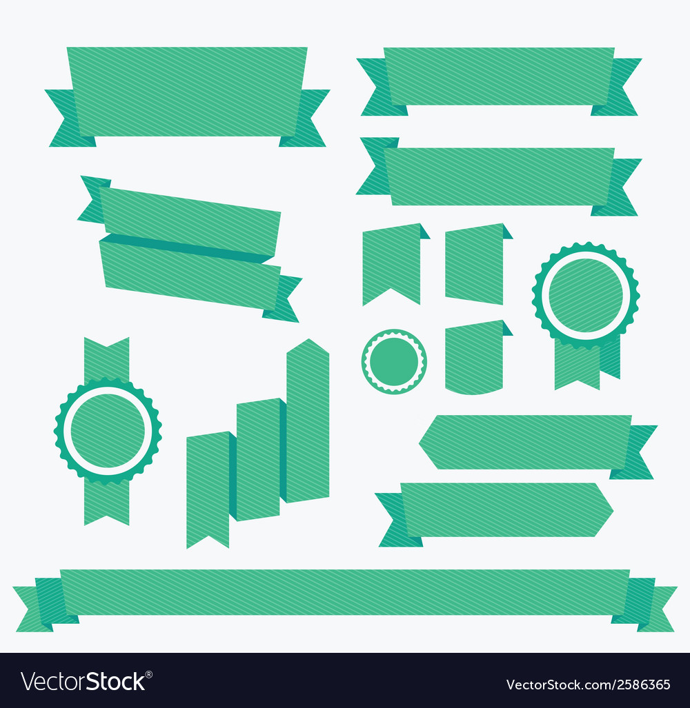 Green ribbons set elements isolated vector | Price: 1 Credit (USD $1)