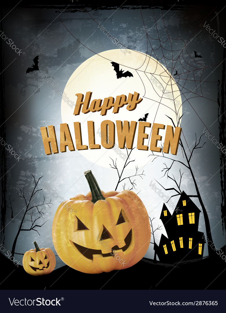 Halloween party background with pumpkins vector | Price: 1 Credit (USD $1)