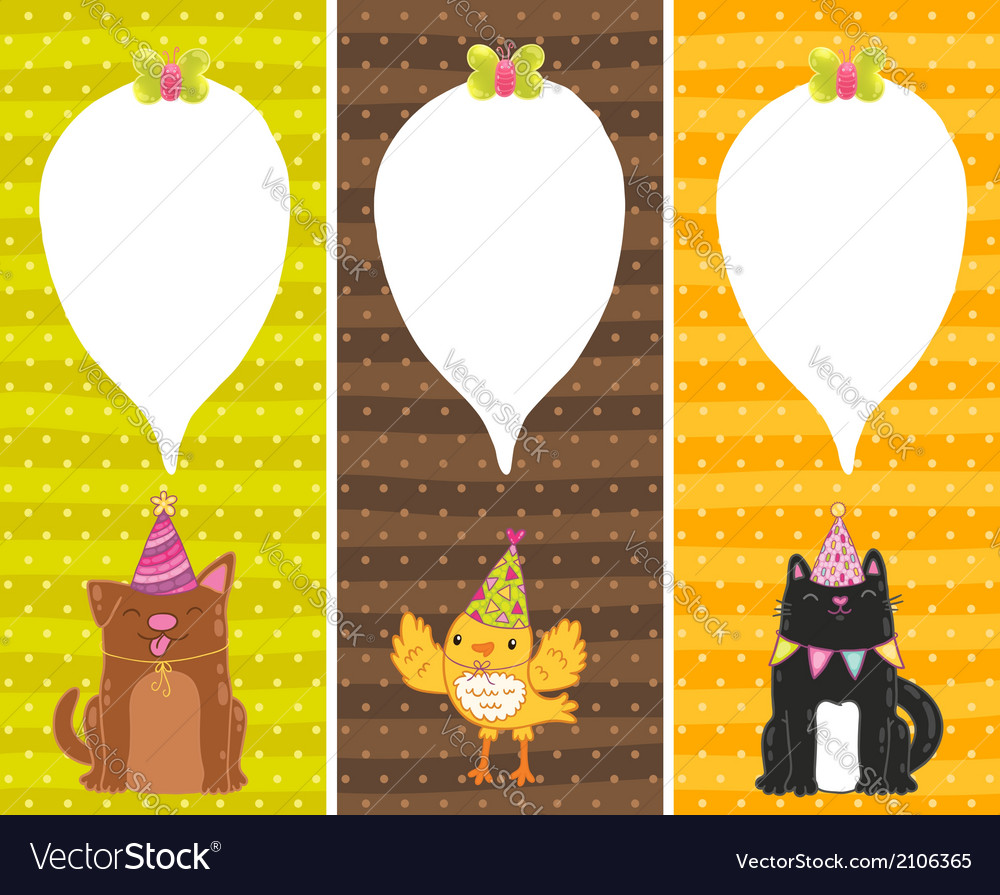 Happy birthday cards with dog cat bird vector | Price: 1 Credit (USD $1)