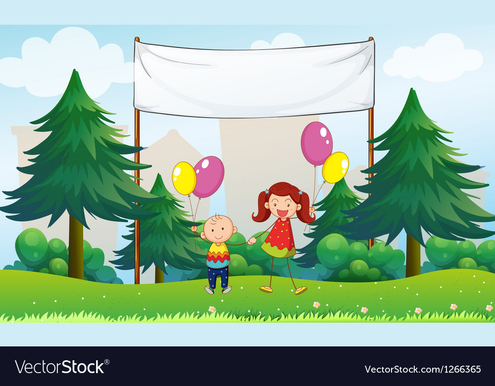 Happy kids with balloons below an empty signage vector | Price: 1 Credit (USD $1)