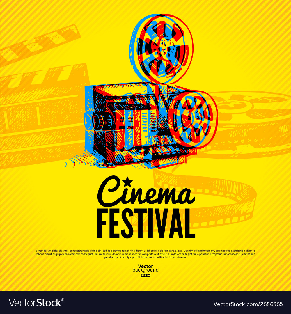 Movie cinema festival poster background vector | Price: 1 Credit (USD $1)
