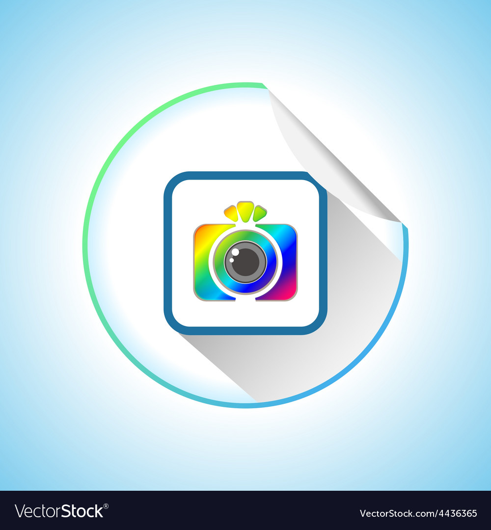 Photo camera sign round sticker vector | Price: 1 Credit (USD $1)