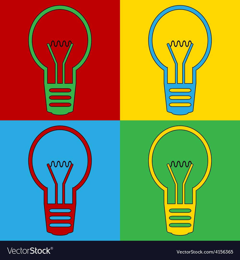 Pop art light bulb icons vector | Price: 1 Credit (USD $1)