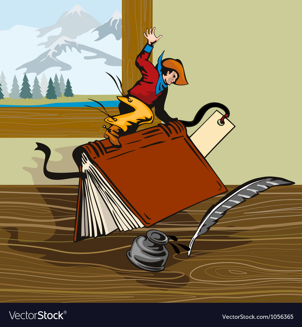 Rodeo cowboy riding book retro vector | Price: 1 Credit (USD $1)