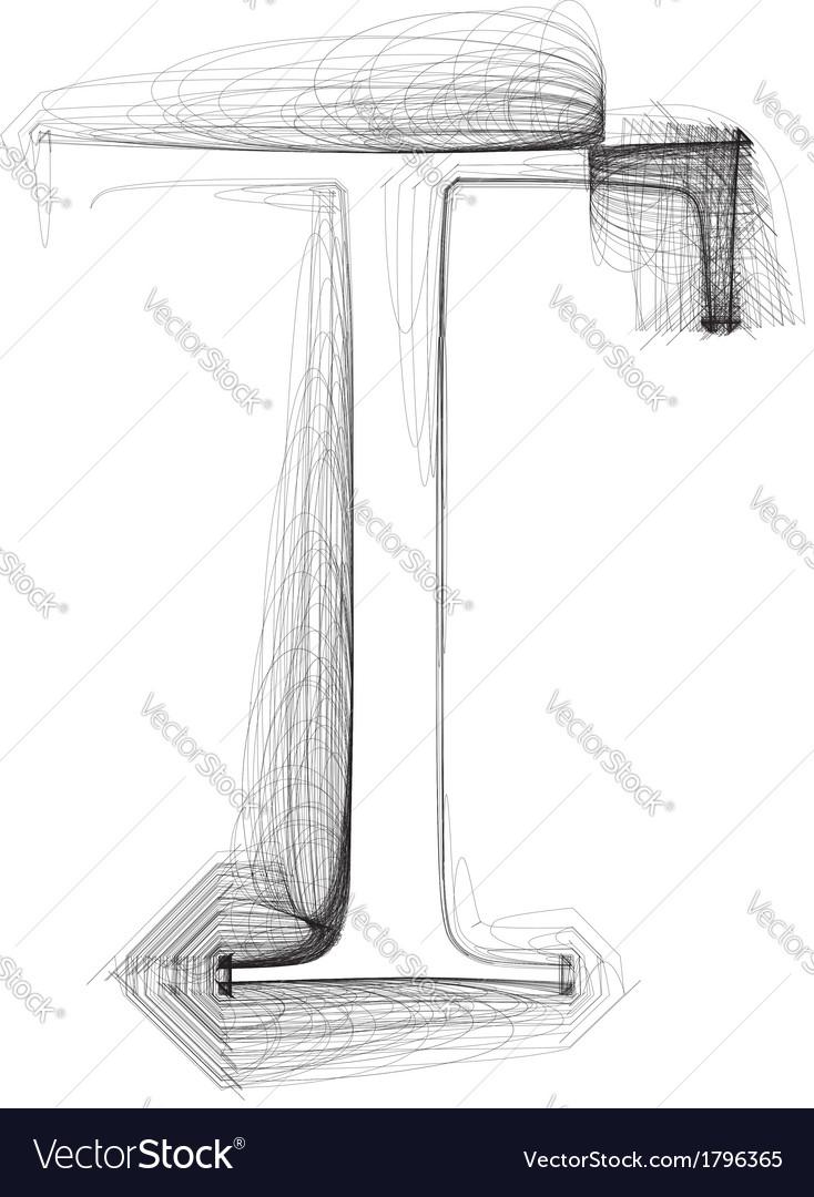 Sketch font letter t vector | Price: 1 Credit (USD $1)