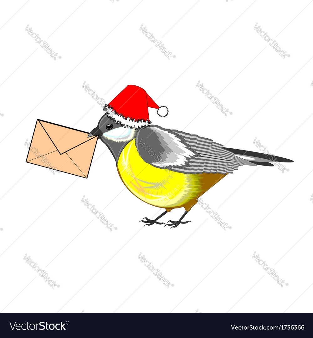 A christmas titmouse with a letter in its beak vector | Price: 1 Credit (USD $1)