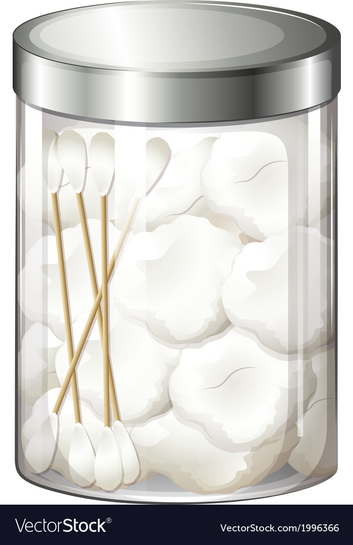 A container with cotton balls and cotton buds vector | Price: 1 Credit (USD $1)