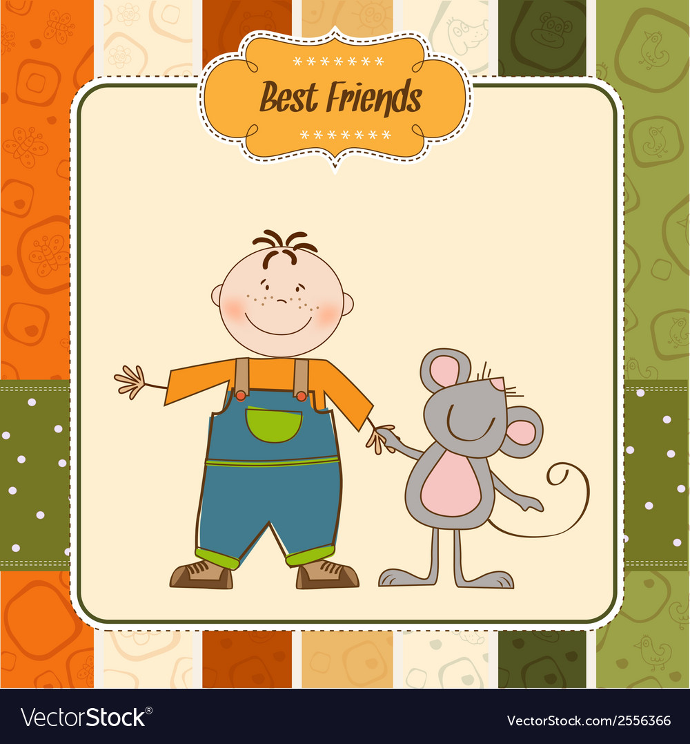 A little boy walks with his best friends vector | Price: 1 Credit (USD $1)