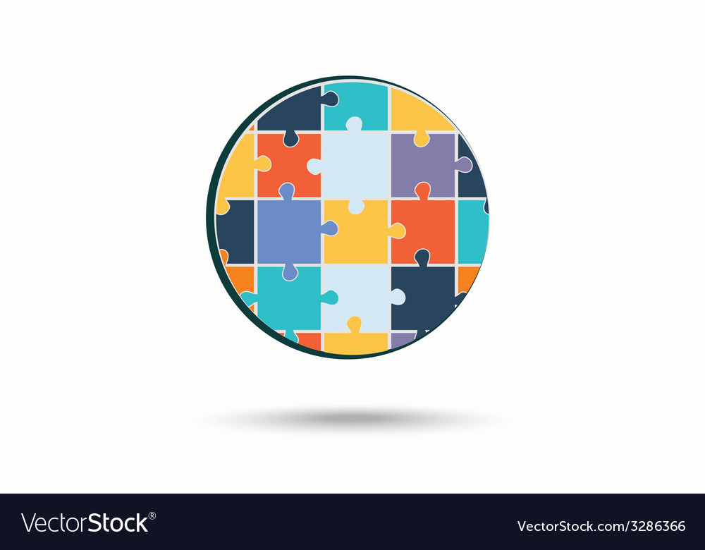 Abstract circle made of puzzle pieces vector | Price: 1 Credit (USD $1)