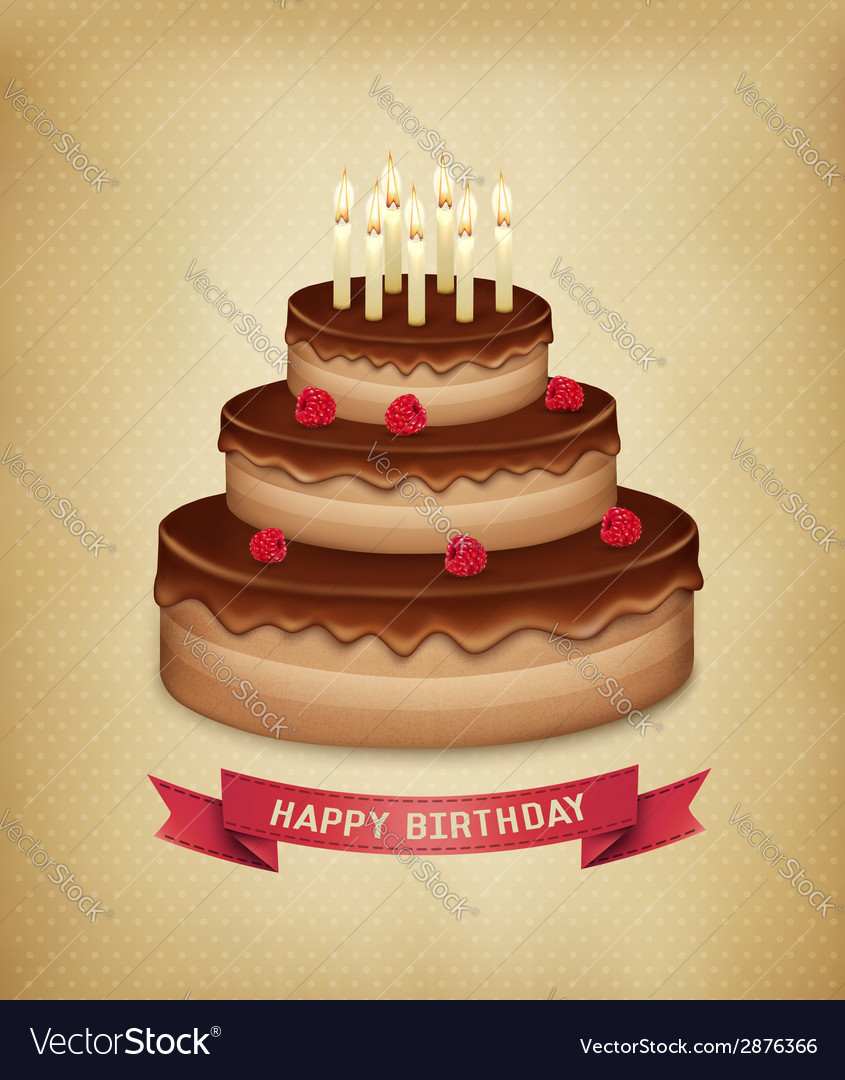 Background with birthday chocolate cake vector | Price: 1 Credit (USD $1)