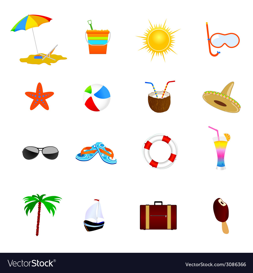 Beach icon color vector | Price: 1 Credit (USD $1)