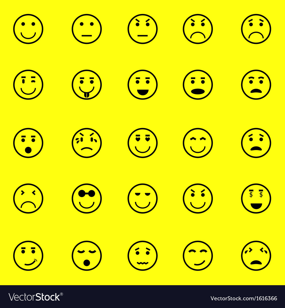 Circle face icons on yellow background vector | Price: 1 Credit (USD $1)