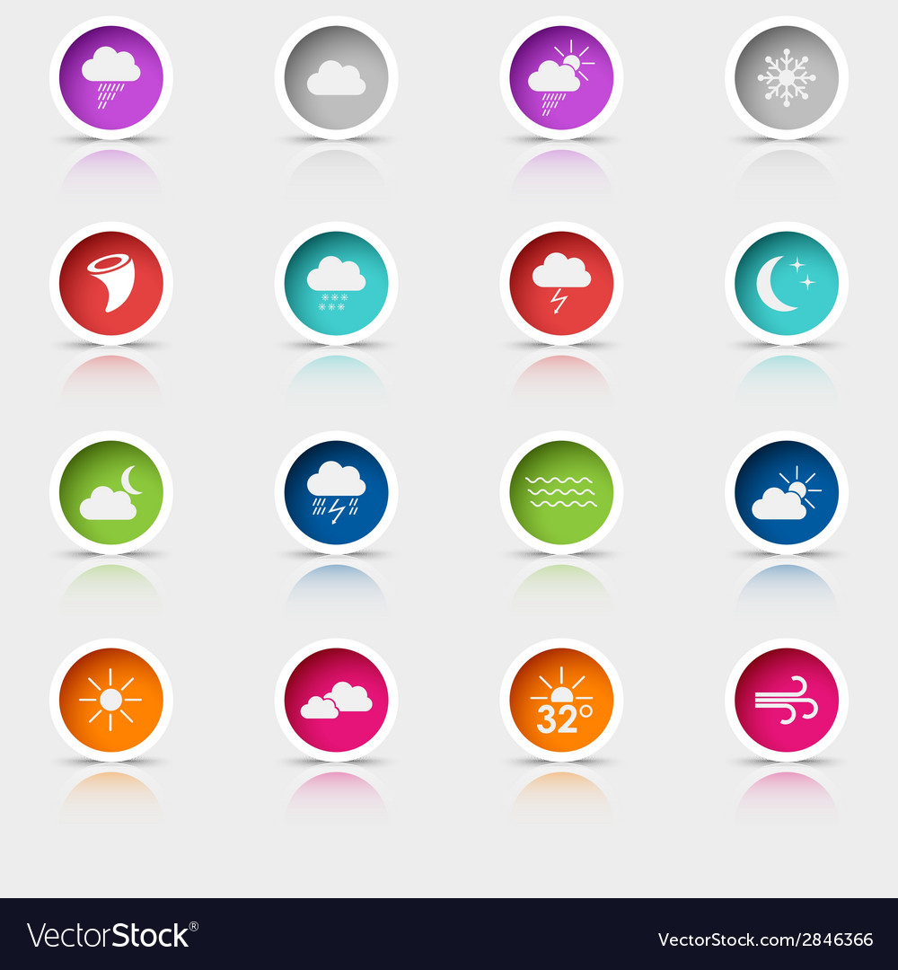 Colored set round web buttons weather vector | Price: 1 Credit (USD $1)