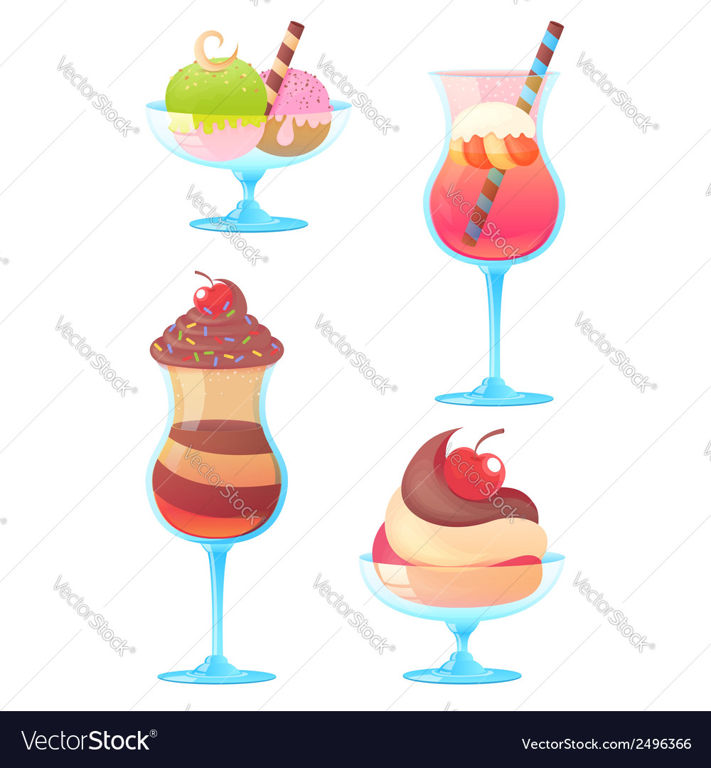 Delicious realistic ice-cream set vector | Price: 1 Credit (USD $1)