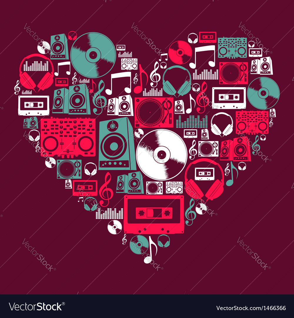 Dj music love heart vector | Price: 1 Credit (USD $1)