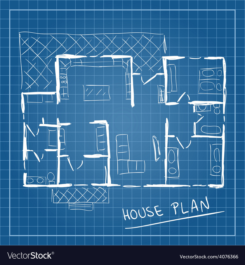 House plan blueprint doodle vector | Price: 1 Credit (USD $1)