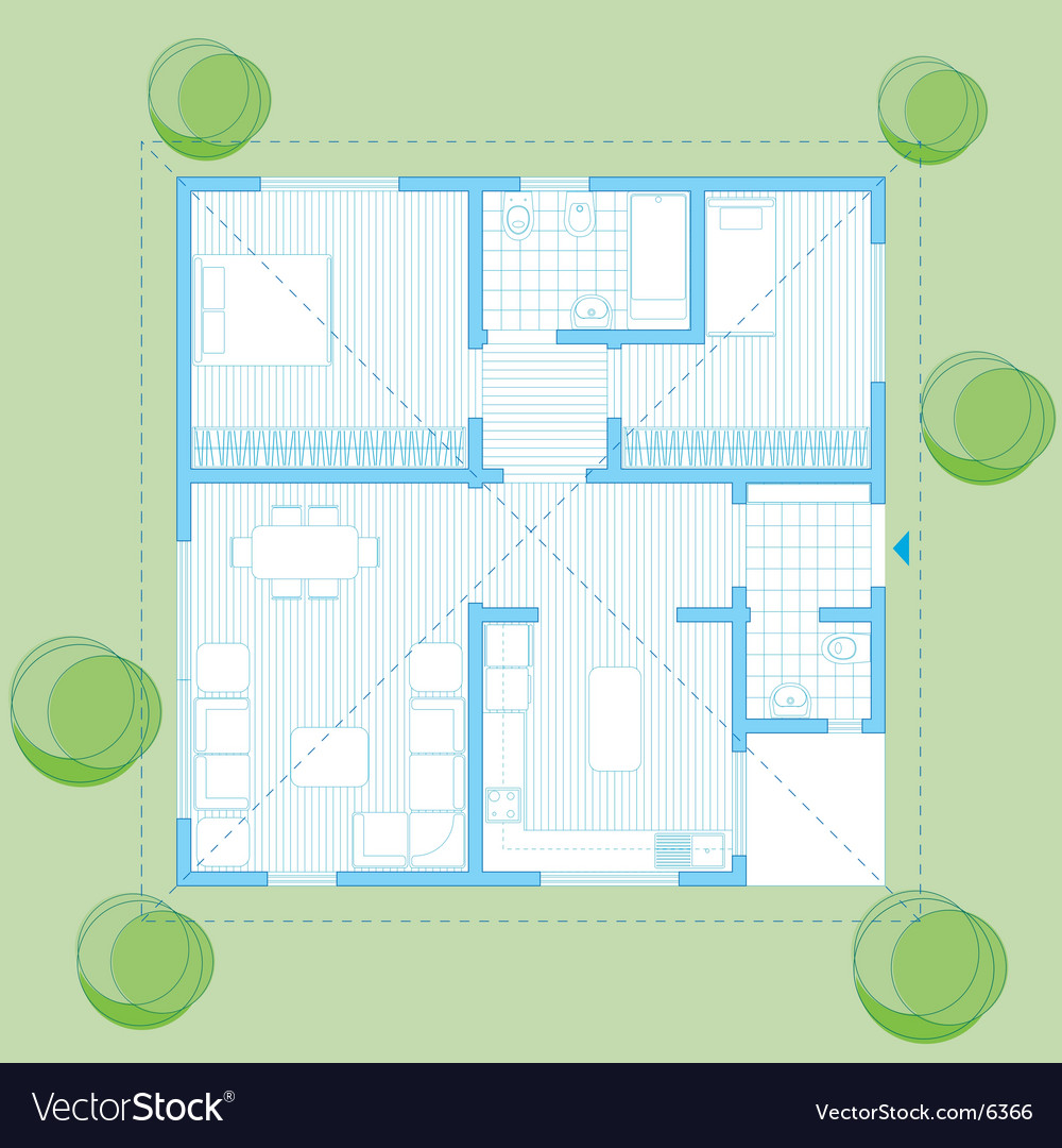 House plan vector | Price: 3 Credit (USD $3)