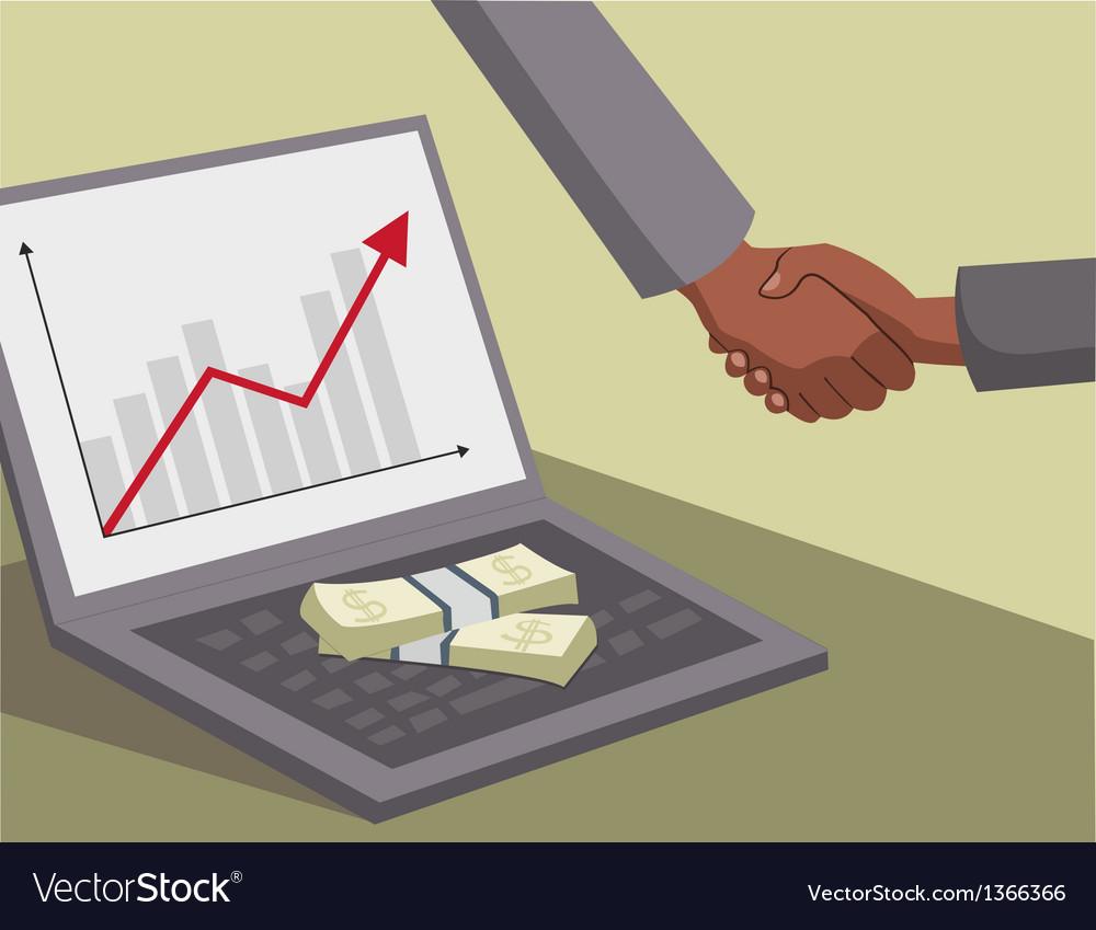 International handshake and money on laptop vector | Price: 3 Credit (USD $3)