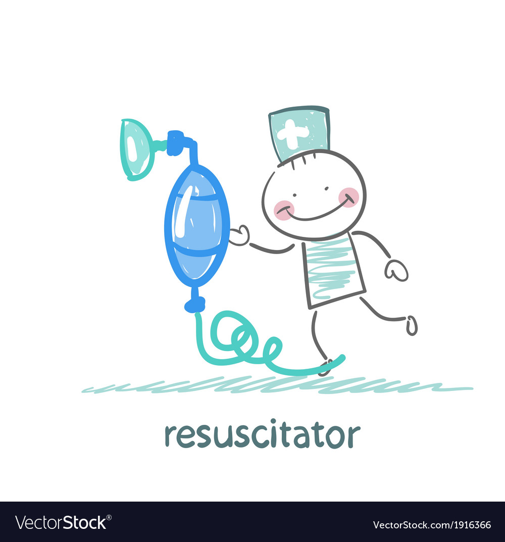 Resuscitation with oxygen mask vector | Price: 1 Credit (USD $1)