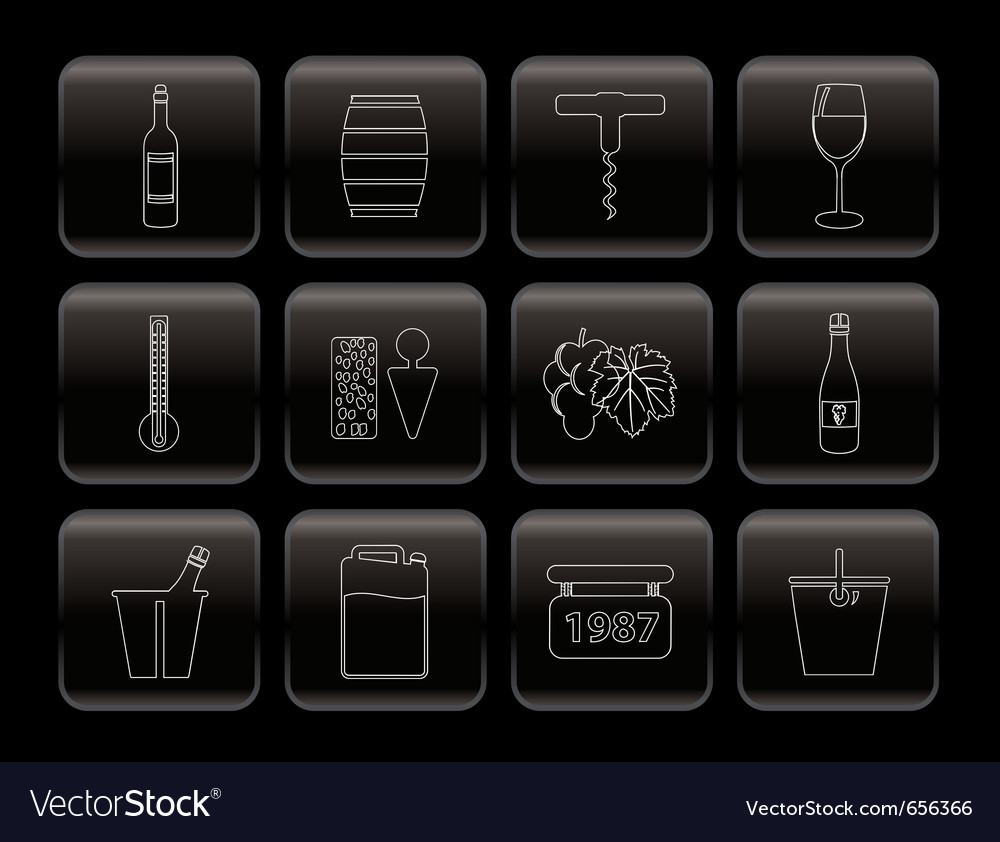 Wine icons vector | Price: 1 Credit (USD $1)