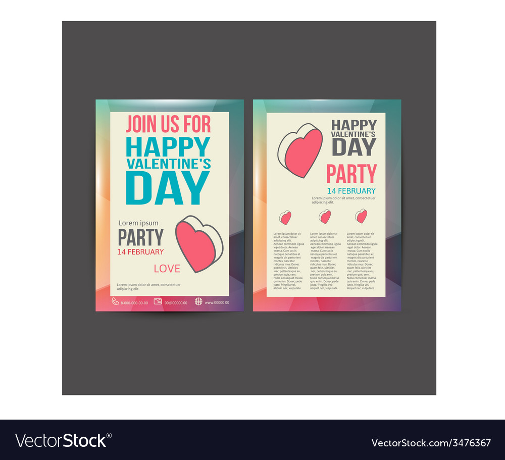 Brochure flyer happy valentines day design vector   Price: 1 Credit (USD $1)