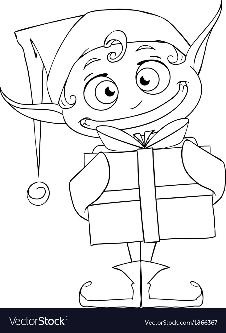 Christmas elf holding a present coloring page vector | Price: 1 Credit (USD $1)
