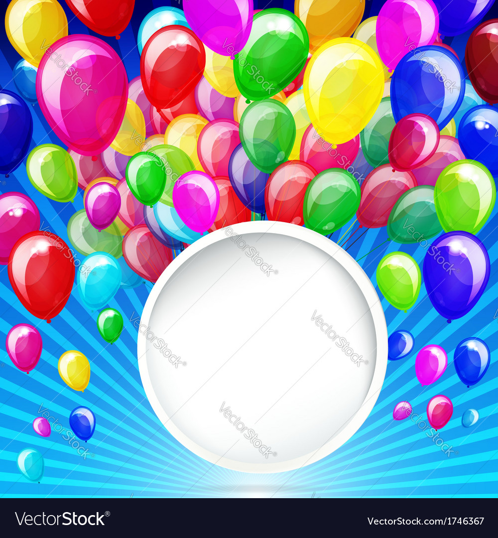 Colorful balloons with banner on a blue background vector | Price: 1 Credit (USD $1)