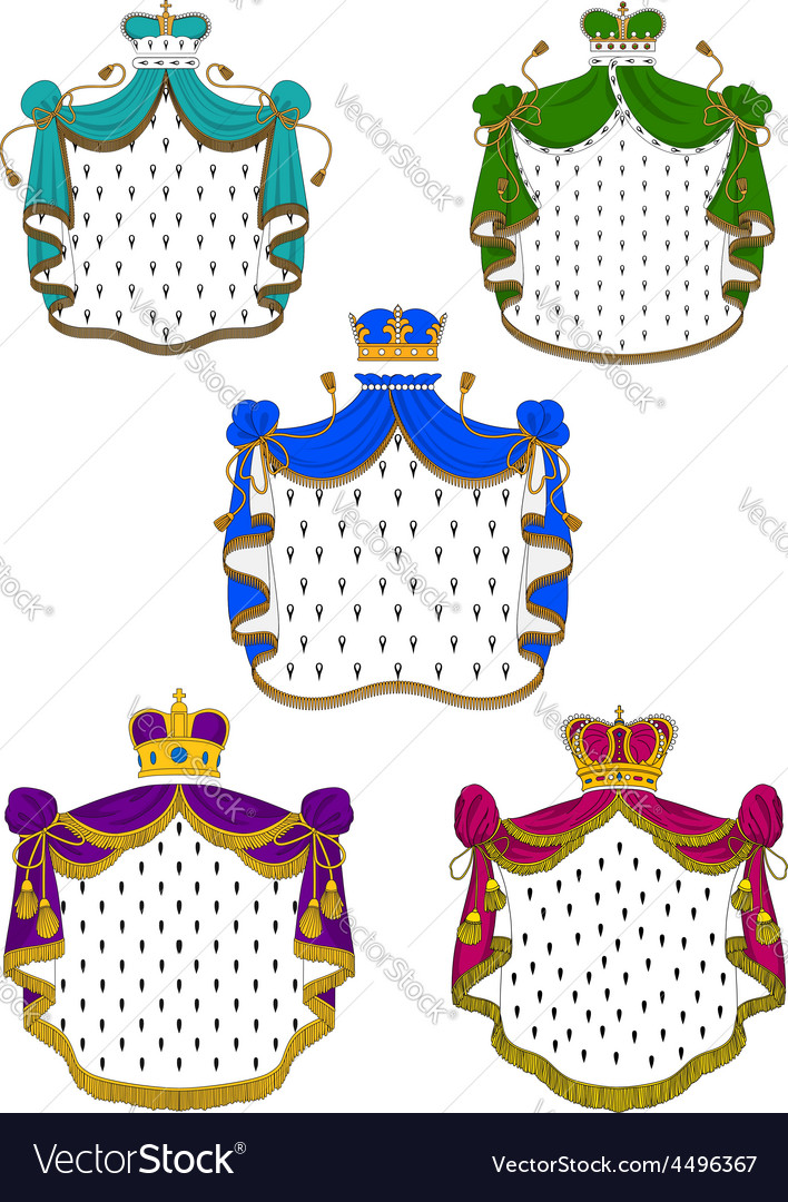 Colorful ceremonial royal mantles and crowns vector | Price: 1 Credit (USD $1)