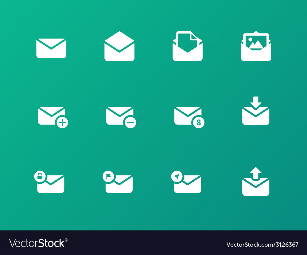 Email icons on green background vector | Price: 1 Credit (USD $1)