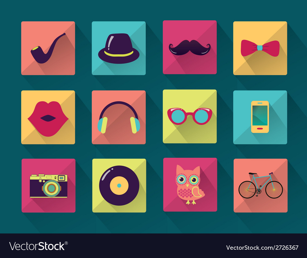 Flat long shadowed hipster icons vector | Price: 1 Credit (USD $1)