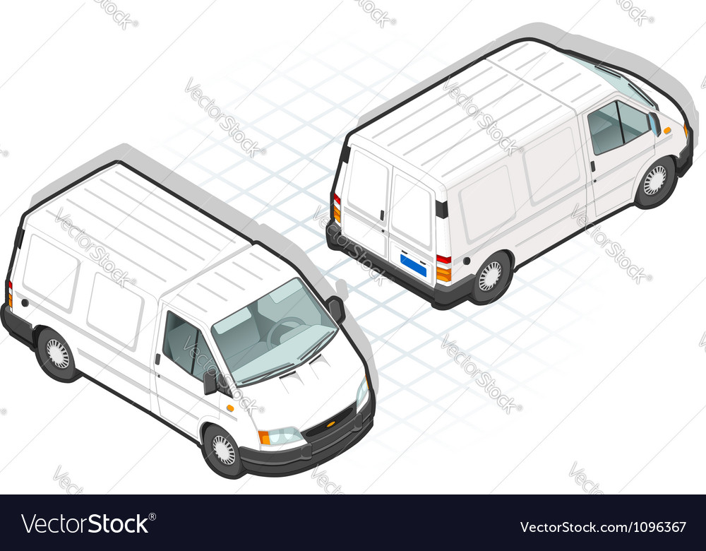 Isometric white van in two position vector | Price: 3 Credit (USD $3)