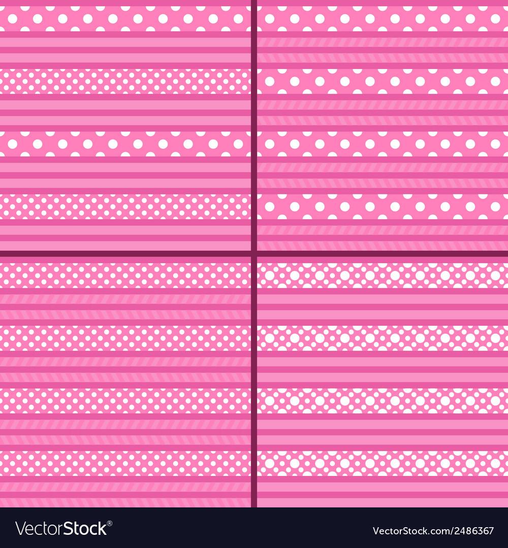 Pink polka dot striped pattern vector   Price: 1 Credit (USD $1)