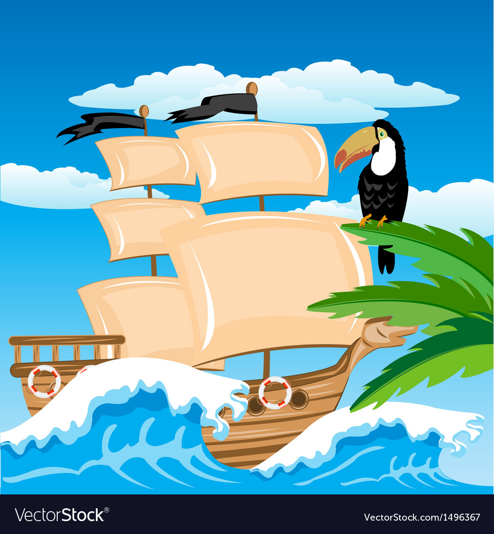 Sailing nave in tropic vector | Price: 1 Credit (USD $1)