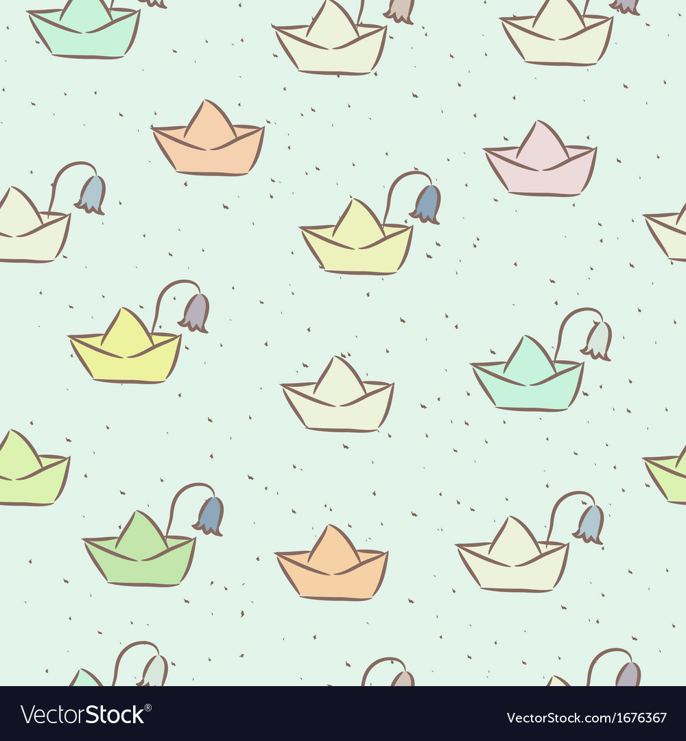 Seamless childish pattern with paper boats on the vector | Price: 1 Credit (USD $1)