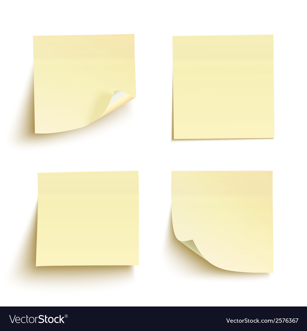 Set of yellow sticky notes vector | Price: 1 Credit (USD $1)