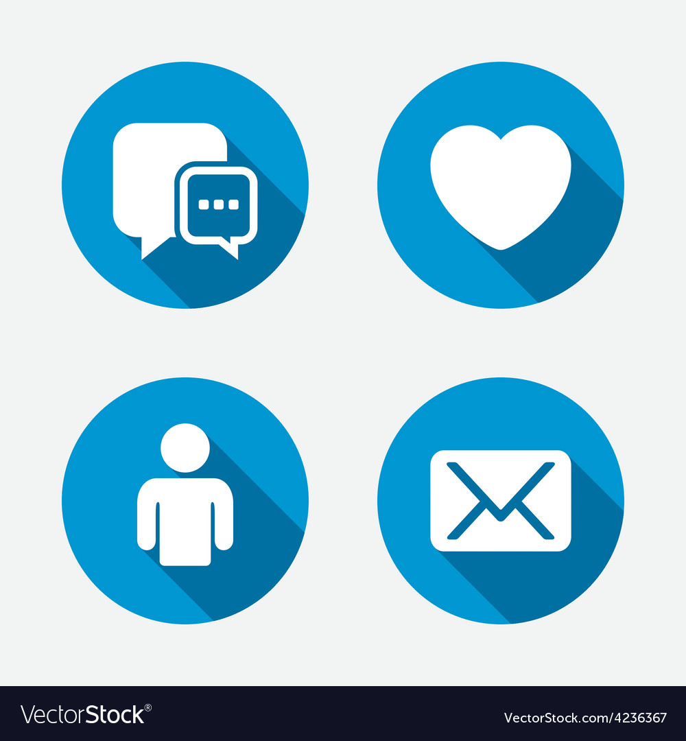 Social media icons chat speech bubble and mail vector | Price: 1 Credit (USD $1)