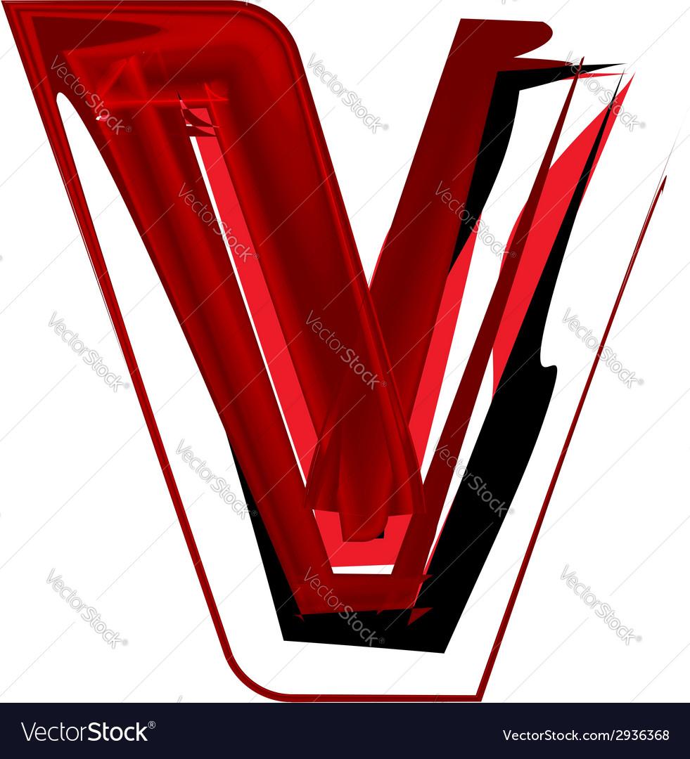Artistic font letter v vector | Price: 1 Credit (USD $1)