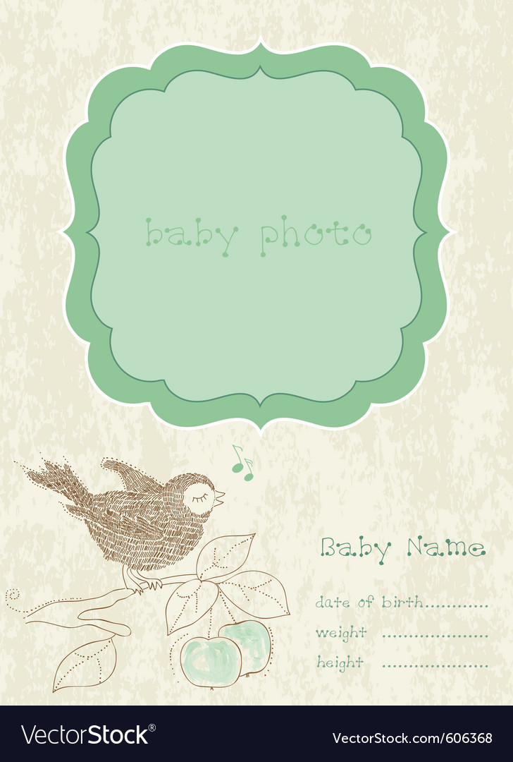 Baby boy arrival card with photo frame and place f vector | Price: 1 Credit (USD $1)