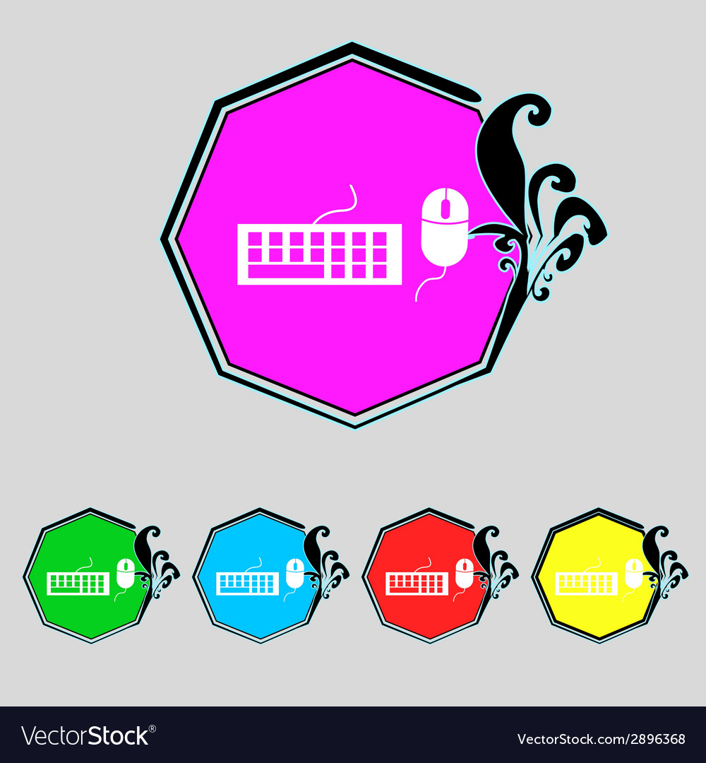 Computer keyboard and mouse icon set colourful vector   Price: 1 Credit (USD $1)