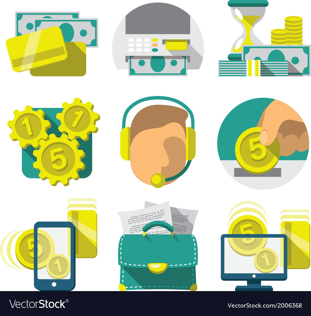Flat banking icons vector | Price: 1 Credit (USD $1)