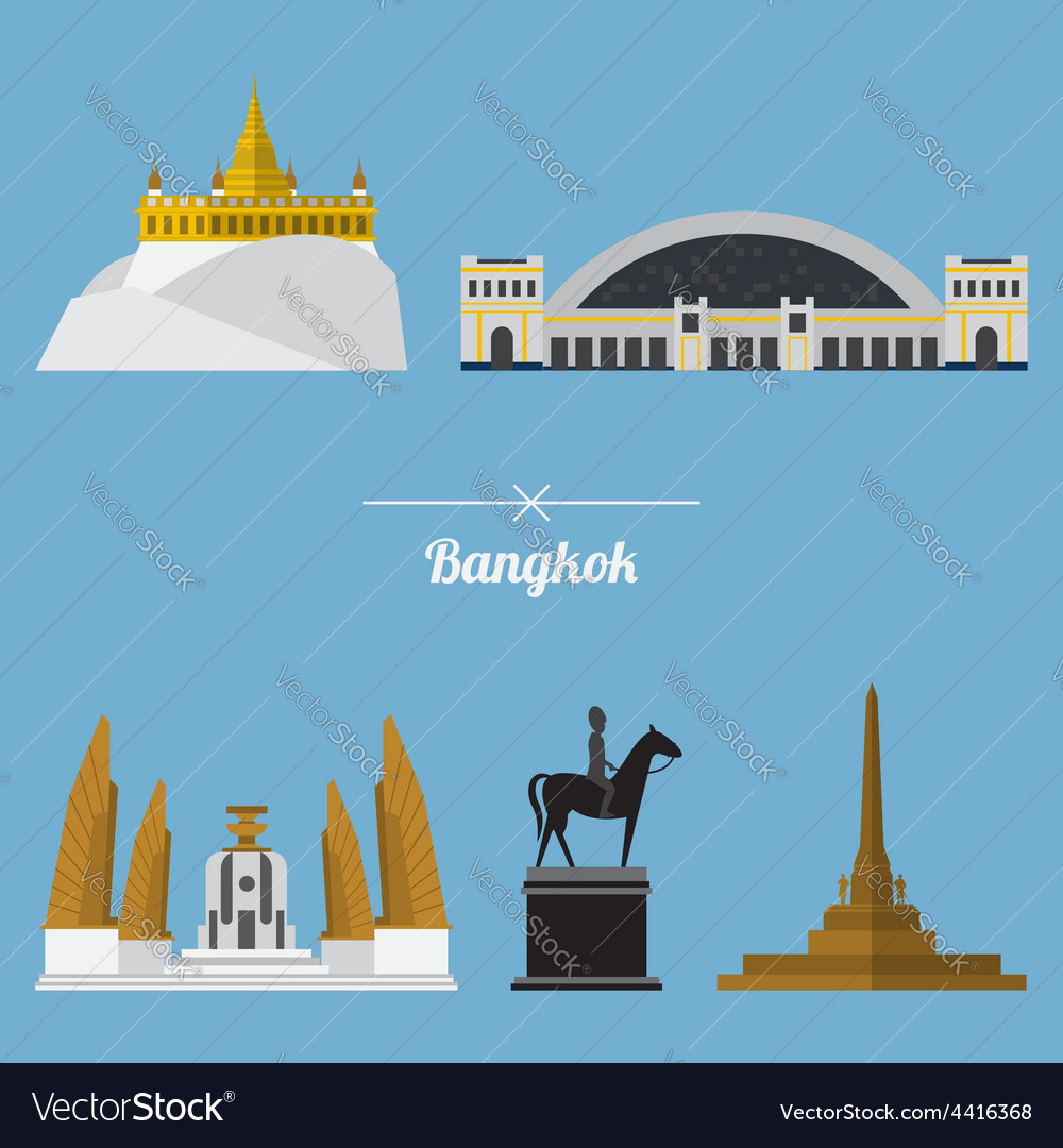 Icon set of bangkok city landmark in flat design vector | Price: 1 Credit (USD $1)