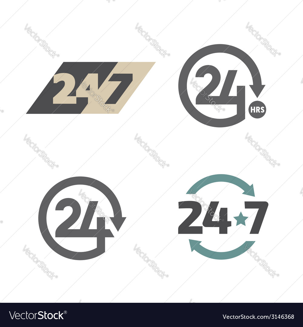 Open around the clock 24 hours 7 days a week icons vector | Price: 1 Credit (USD $1)
