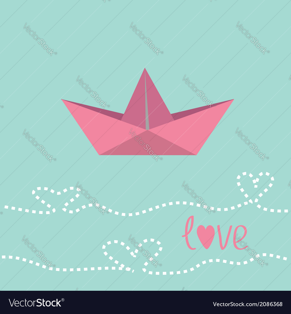 Origami paper boat love card vector | Price: 1 Credit (USD $1)