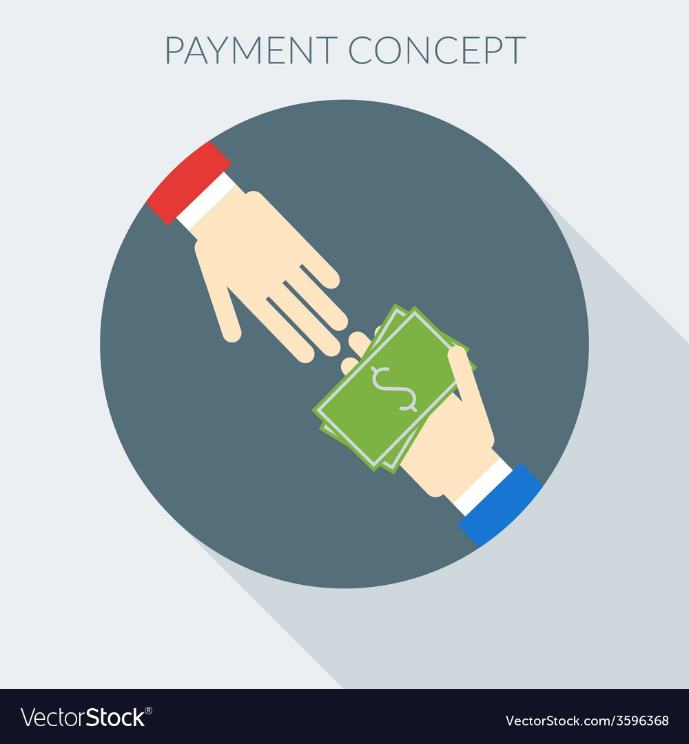 Payment concept hand giving money to other hand vector | Price: 1 Credit (USD $1)
