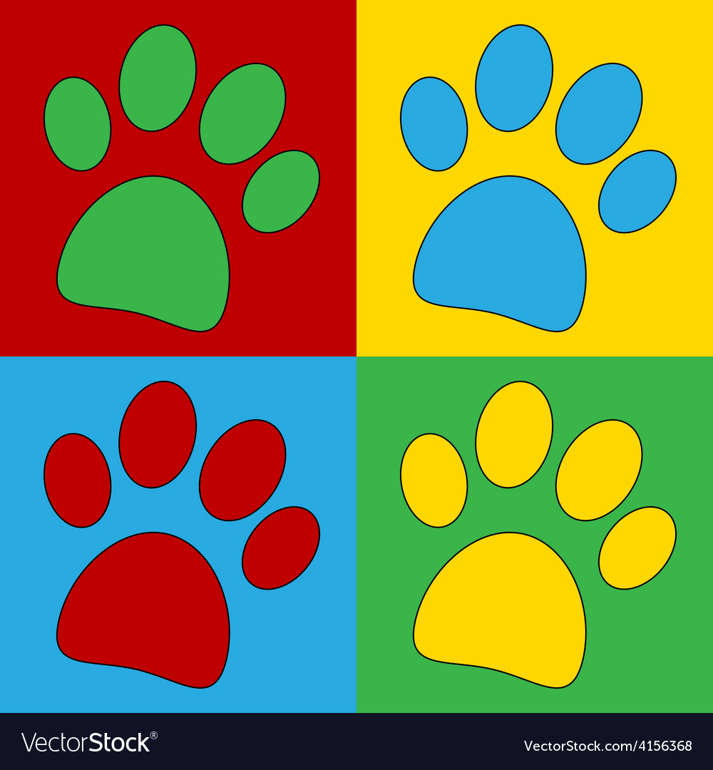 Pop art paw icons vector | Price: 1 Credit (USD $1)