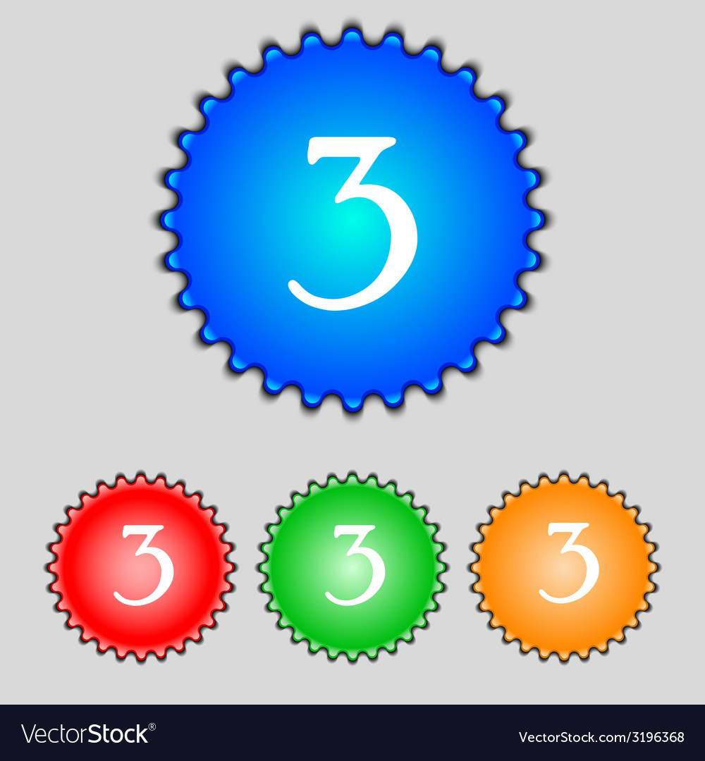 Third place award sign winner symbol step three vector | Price: 1 Credit (USD $1)