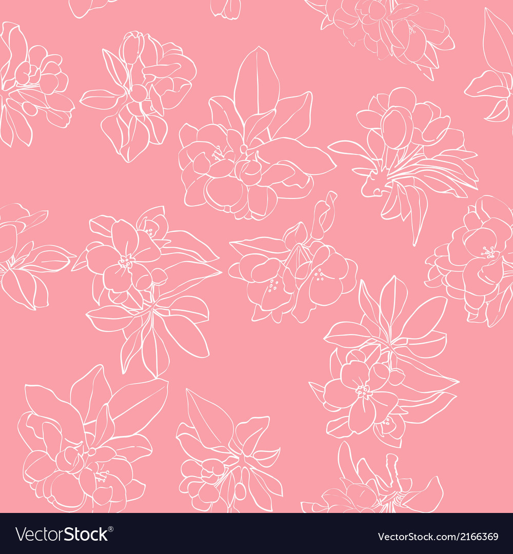 Apple flowers white pattern vector | Price: 1 Credit (USD $1)