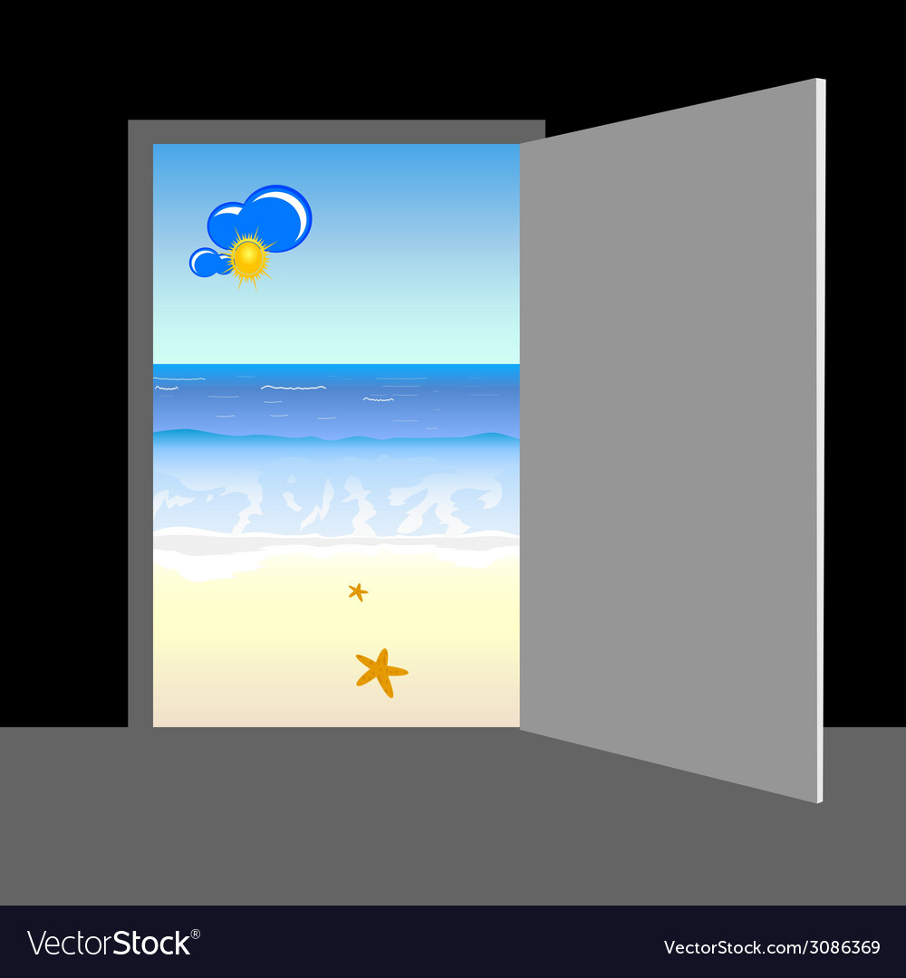 Beach behind the door vector | Price: 1 Credit (USD $1)