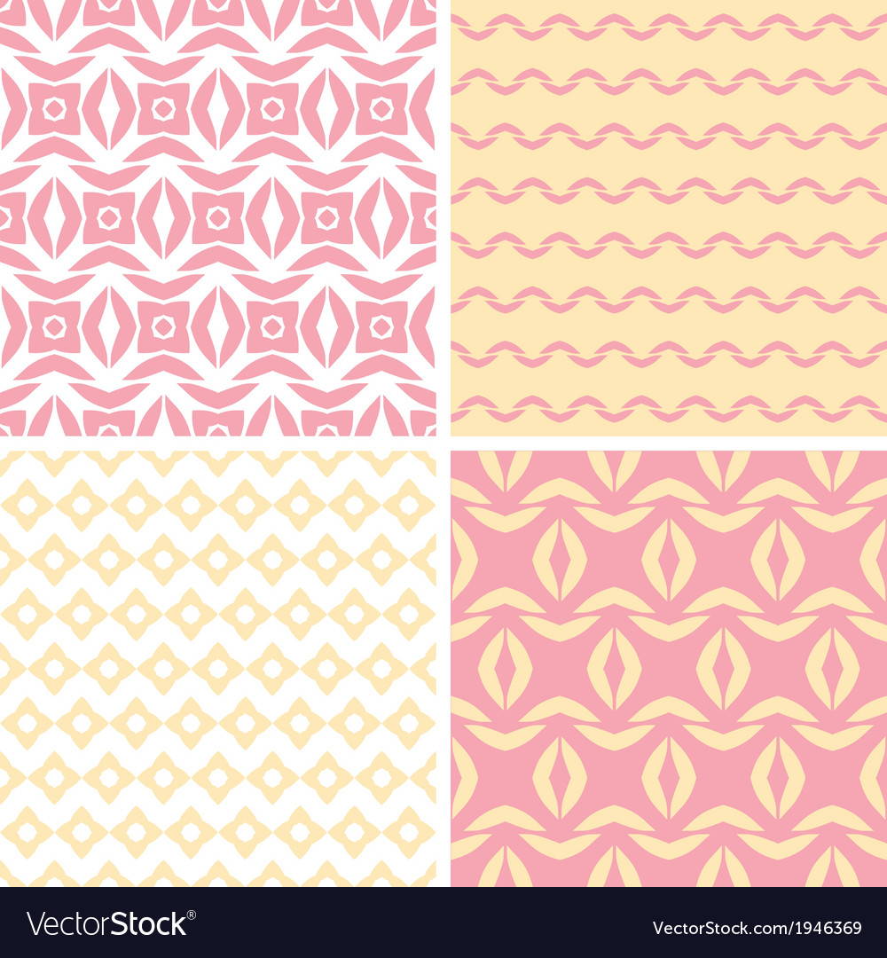 Four tribal pink and yellow abstract geometric vector | Price: 1 Credit (USD $1)